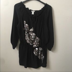 Cache Silver Sequin Embroidered Flowy Silk Top
